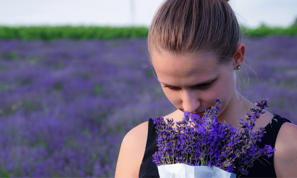 girl in a field of lavanda