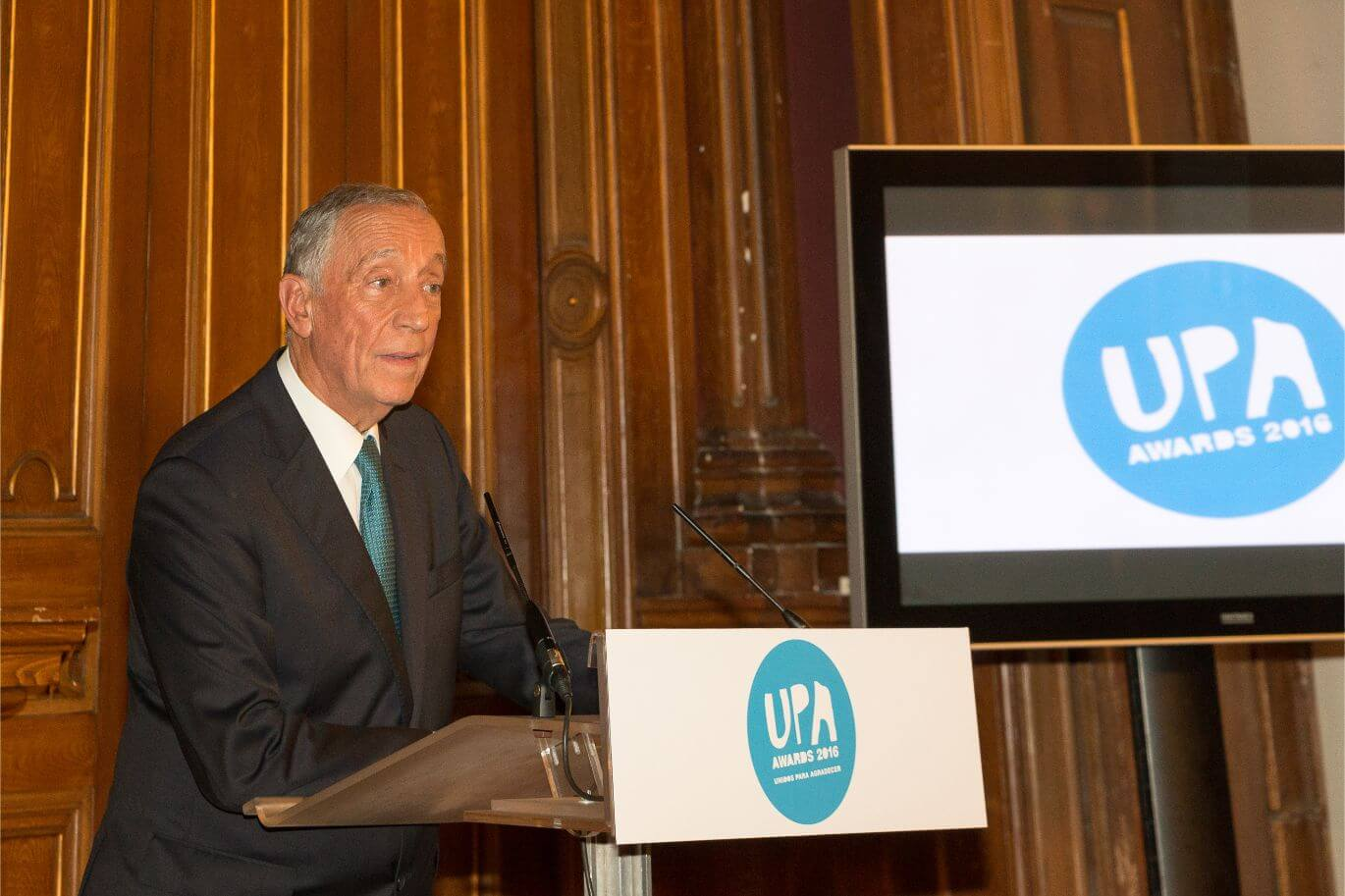 Presidente Marcelo Rebelo de Sousa giving a speech at Encontrar+se