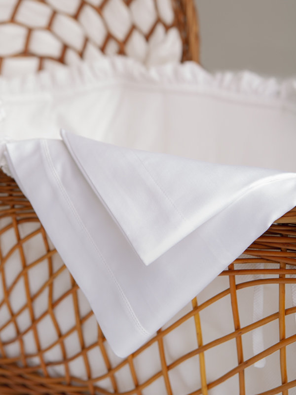 Detail of Marialma's White Sensitive Zinc Bassinet Sheet Set