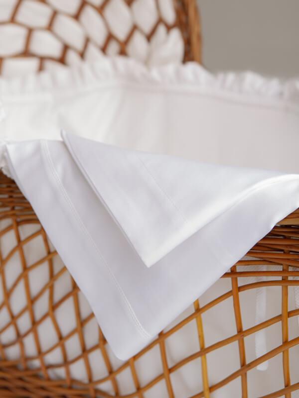 Detail of Marialma's White Sensitive Zinc Bassinet Sheet Set