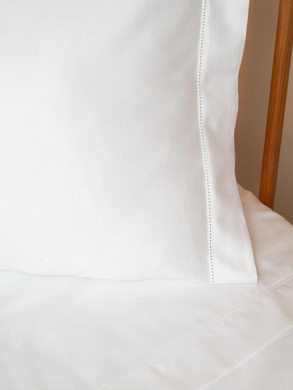 Detail of Marialma's White Sensitive Zinc Pillowcase Set