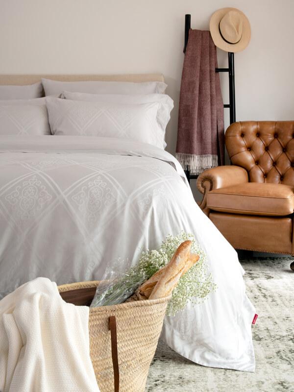Bedroom featuring Marialma's Sensitive Zinc Duvet Cover Set with Jacquard Faro