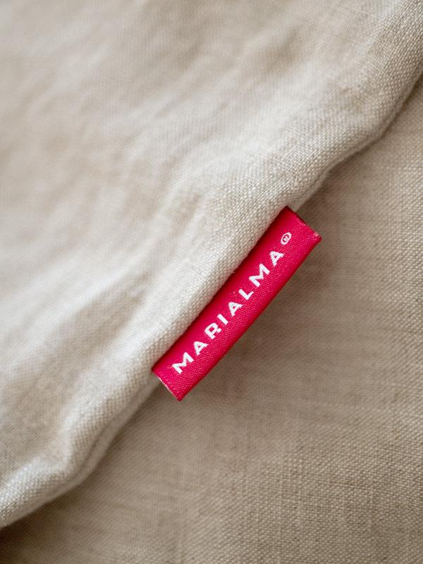 Detail of Marialma's label on Natural Hemp Duvet