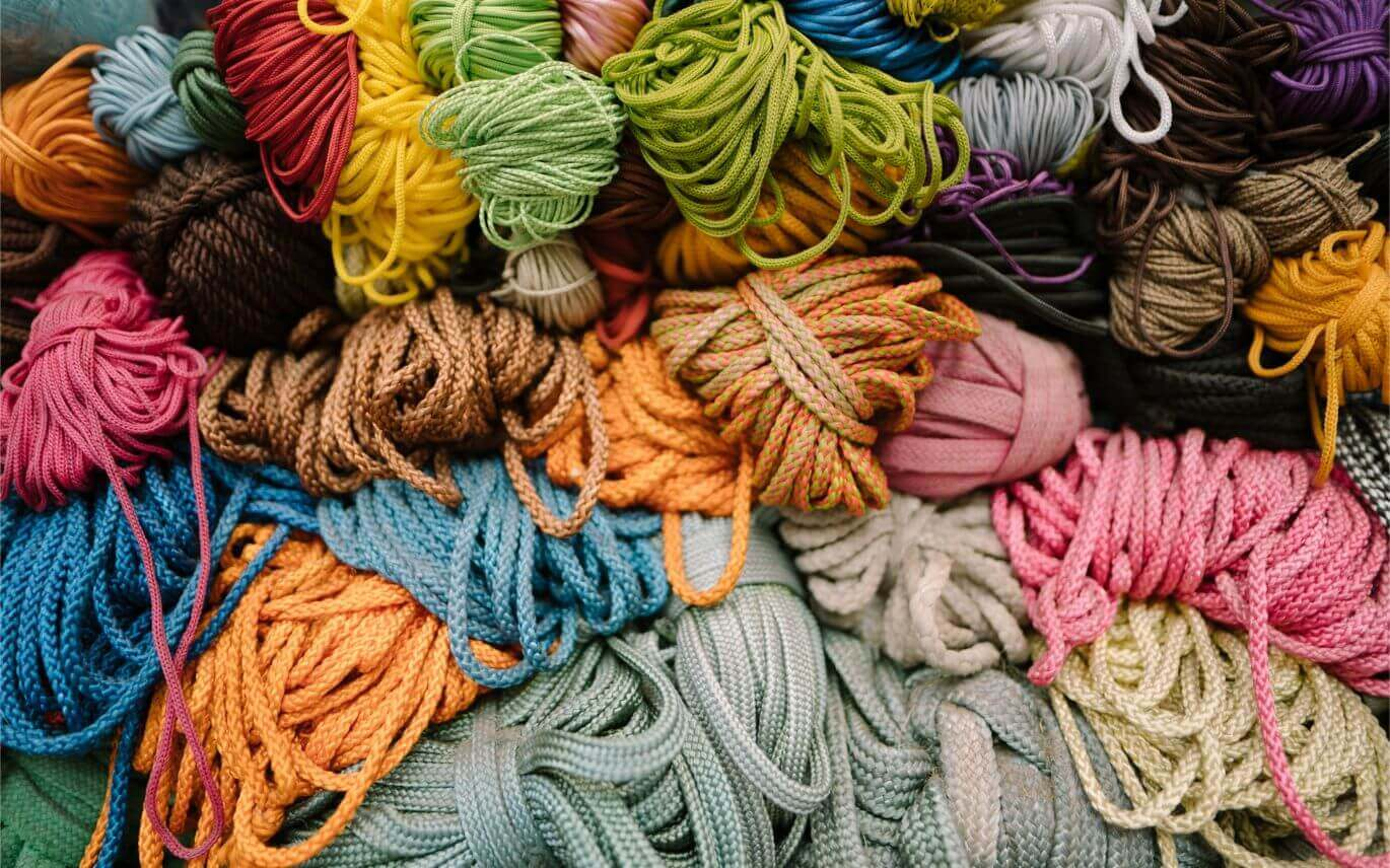 close-up of colorful yarn