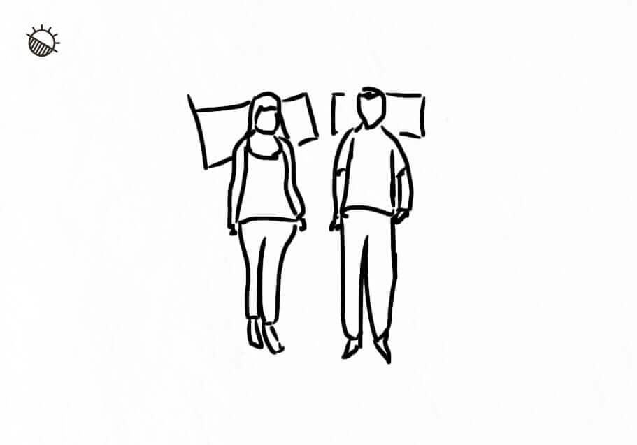 the draw of two people back sleeping