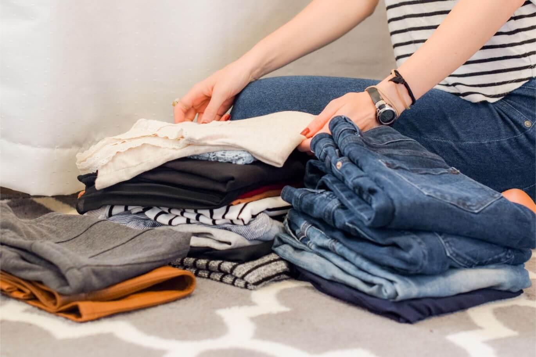 Woman applying the KonMari folding method