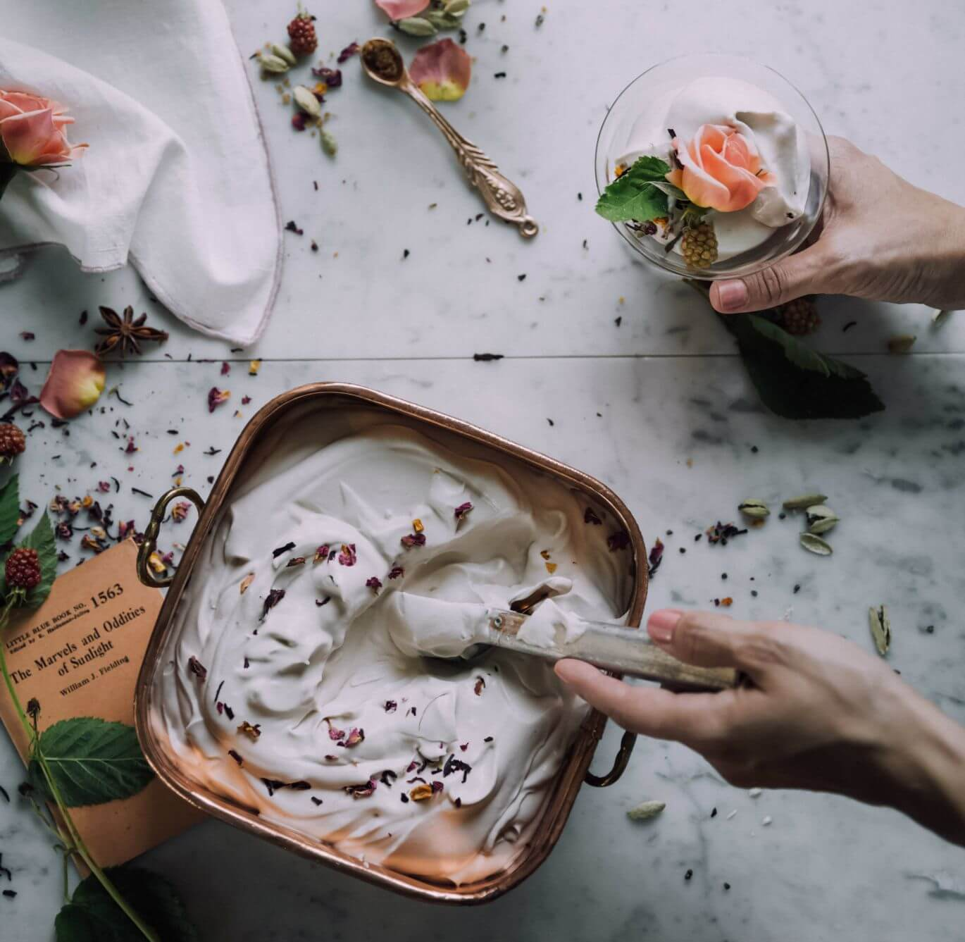 Preparation of skin cream with flowers and herbs