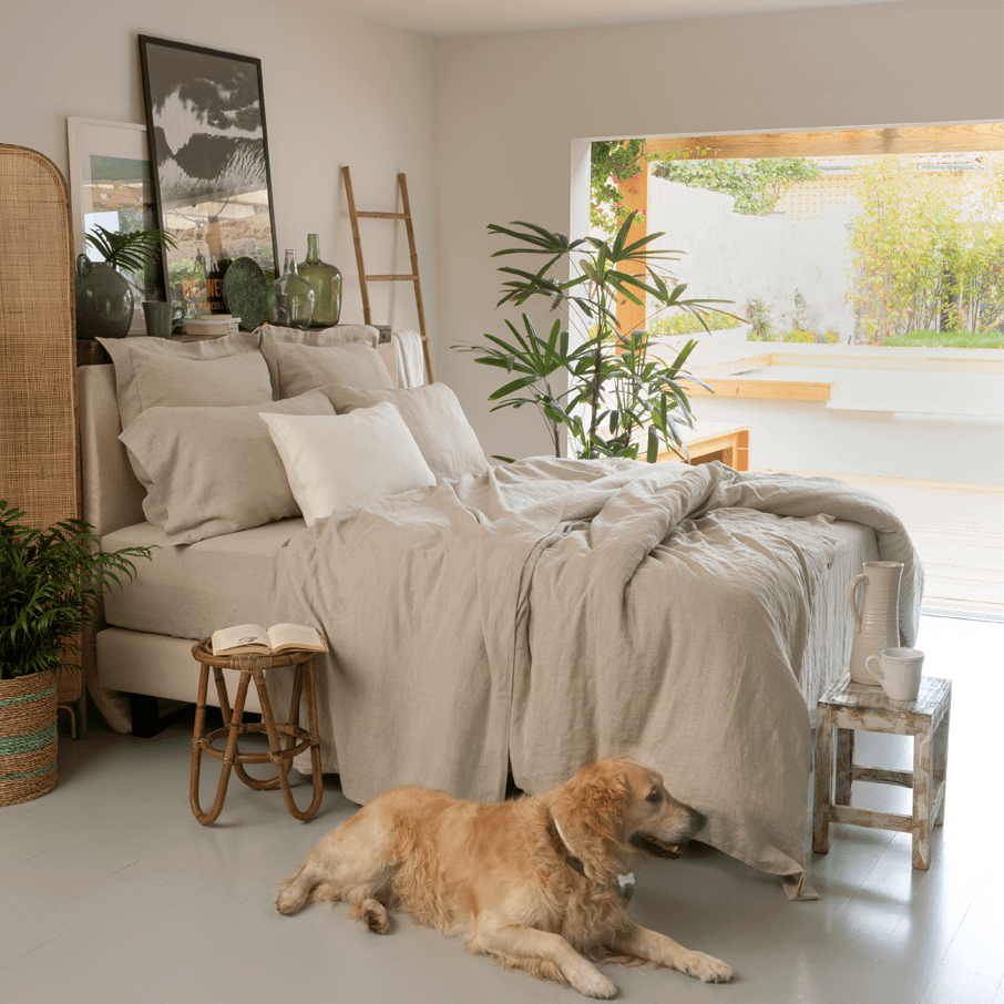 Bedroom with natural hemp bed sheets and a dog
