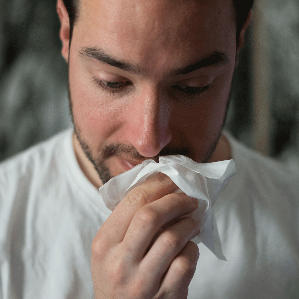 Man with stuffy nose